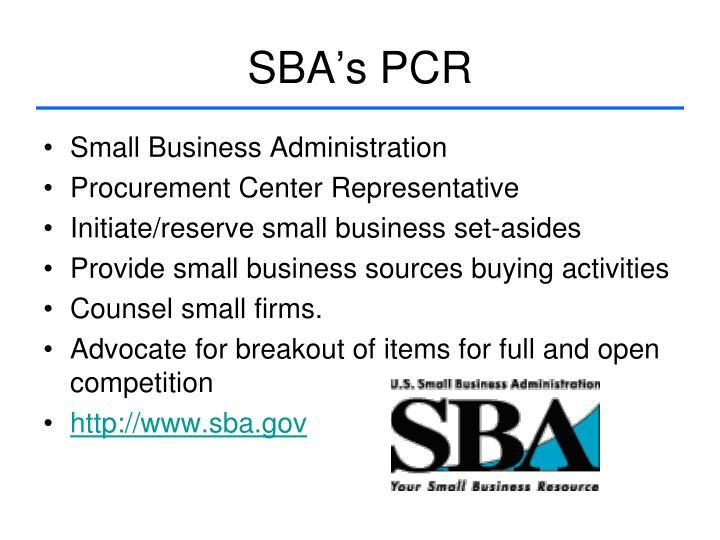 SBA's PCR