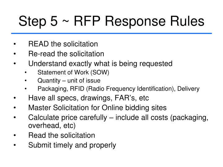 Step 5 ~ RFP Response Rules