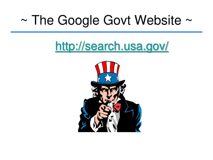~ The Google Govt Website ~
