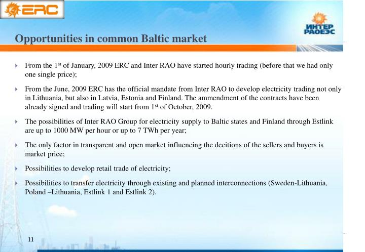 Opportunities in common Baltic market