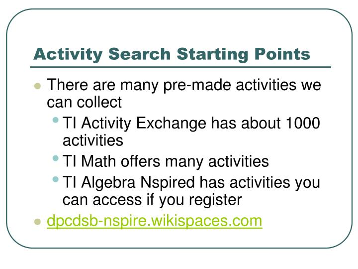 Activity Search Starting Points