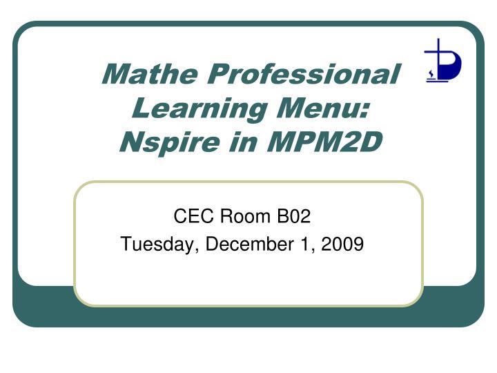 Mathe Professional Learning Menu: