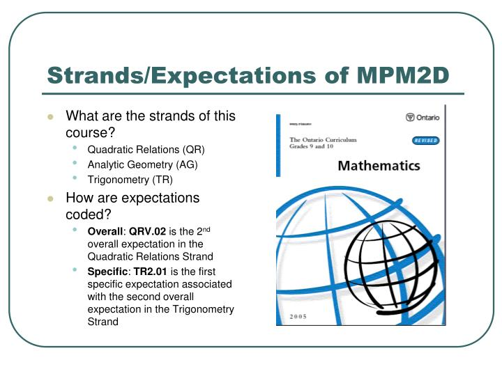 Strands/Expectations of MPM2D