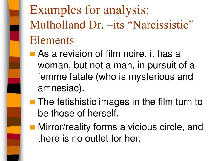 Examples for analysis: