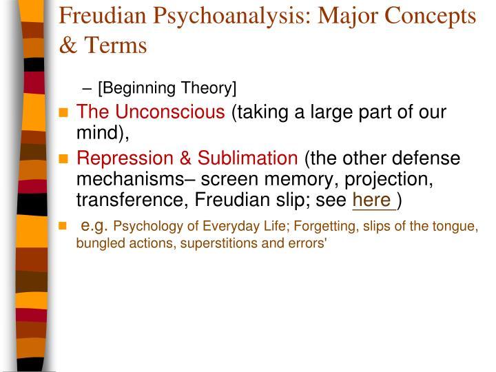 Freudian Psychoanalysis: Major Concepts & Terms