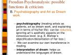 freudian psychoanalysis possible functions criticism1