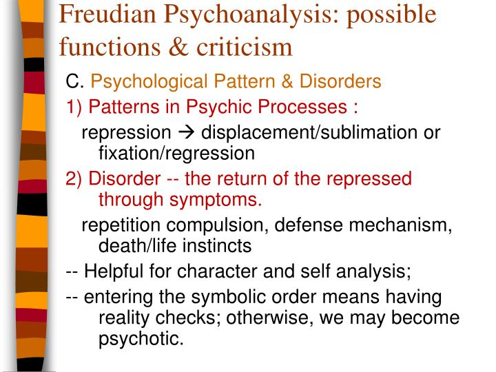 Freudian Psychoanalysis: possible functions & criticism
