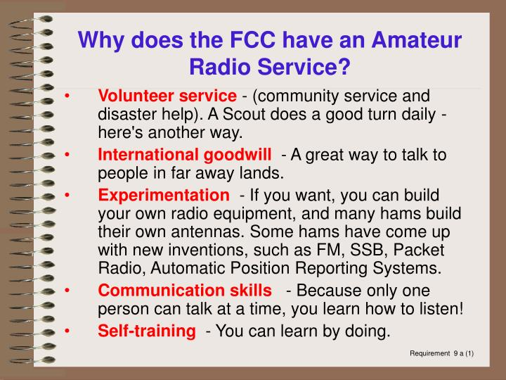 Why does the FCC have an Amateur Radio Service?