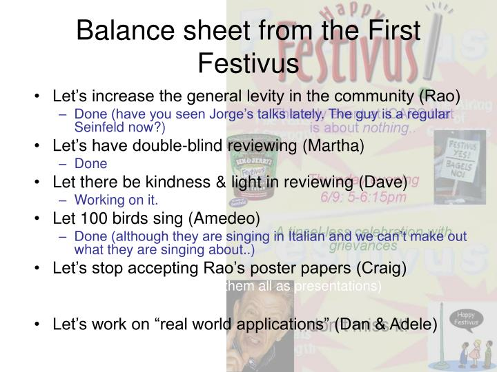 Balance sheet from the First Festivus