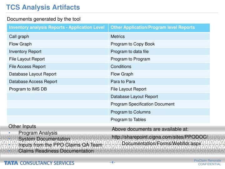 TCS Analysis Artifacts