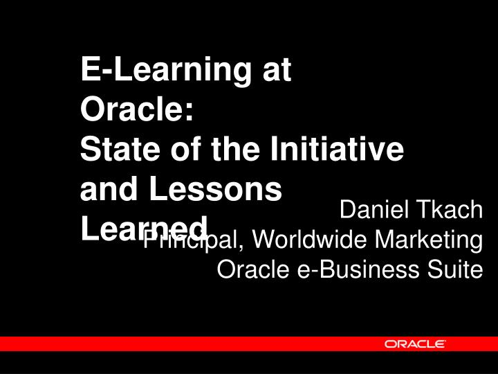 E-Learning at Oracle: