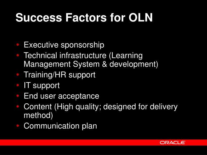 Success Factors for OLN