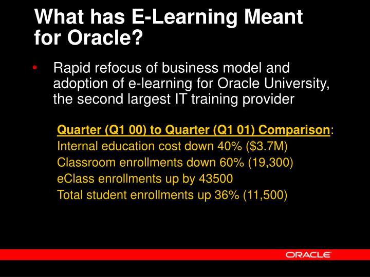 What has E-Learning Meant for Oracle?