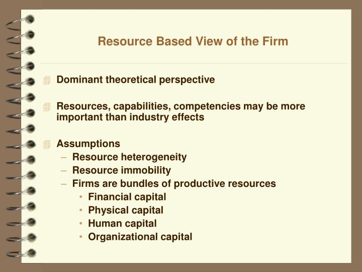 resource based view of firms competitive advantage Define the four characteristics of resources that lead to sustained competitive advantage as articulated by the resource-based  a resource-based view of.