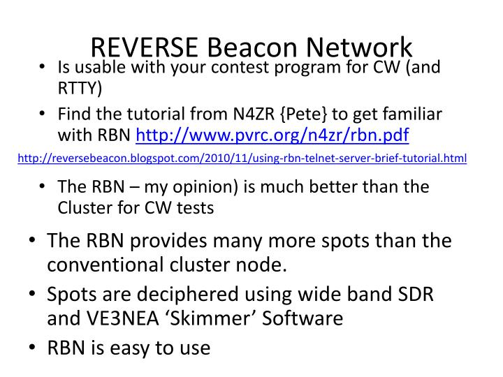 Reverse beacon network