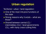 urban regulatio n