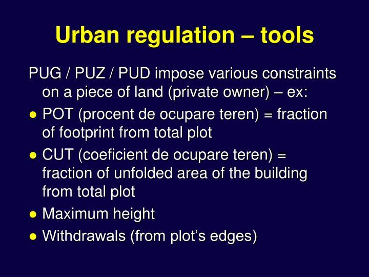 Urban regulation – tools