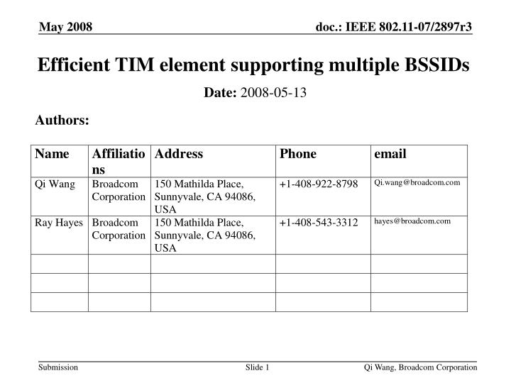 Efficient tim element supporting multiple bssids