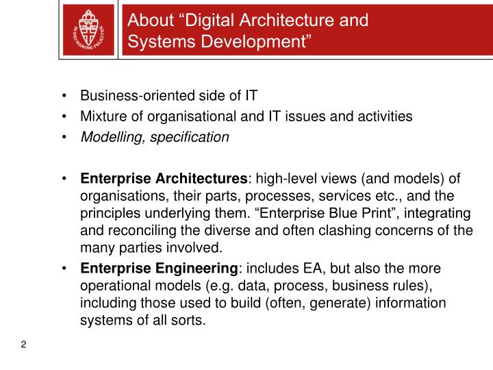 About digital architecture and systems development