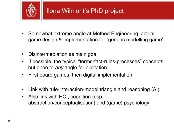Ilona Wilmont's PhD project