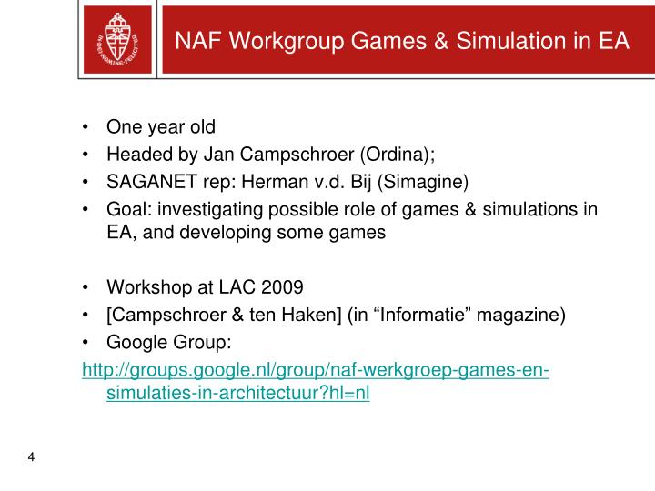 NAF Workgroup Games & Simulation in EA