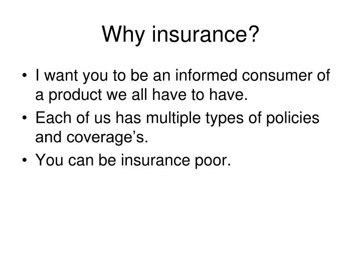 Why insurance