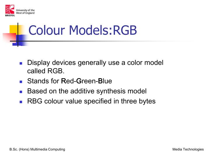 Colour Models:RGB