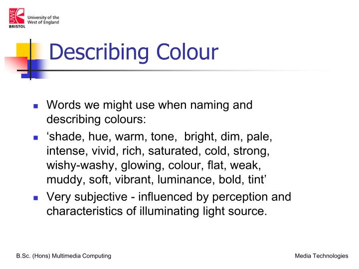 Describing colour