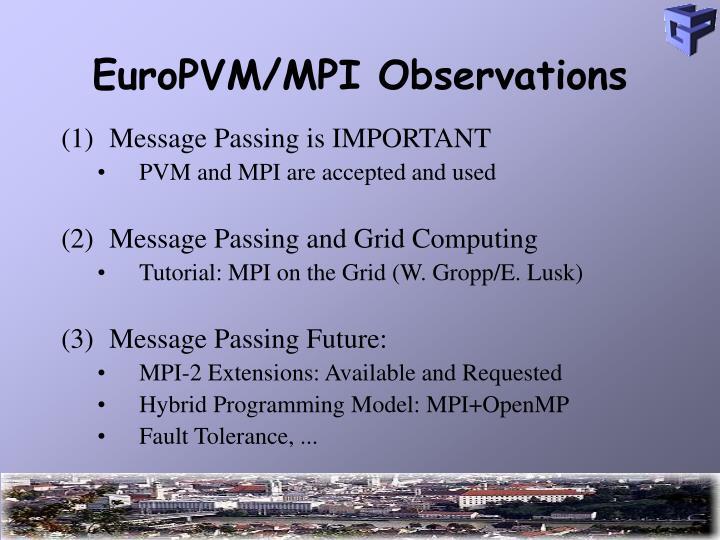 EuroPVM/MPI Observations