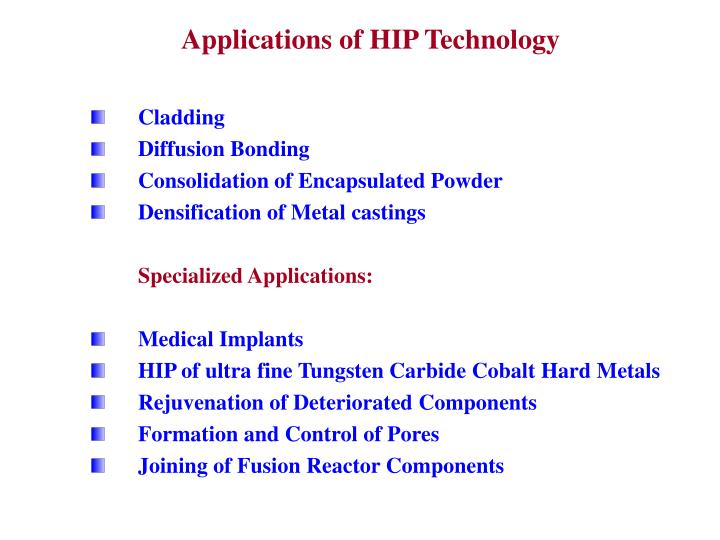 Applications of HIP Technology