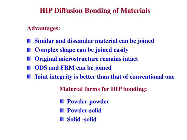 HIP Diffusion Bonding of Materials