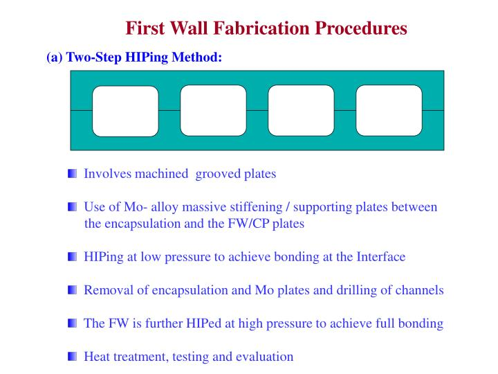 First Wall Fabrication Procedures