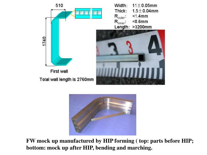 FW mock up manufactured by HIP forming ( top: parts before HIP;