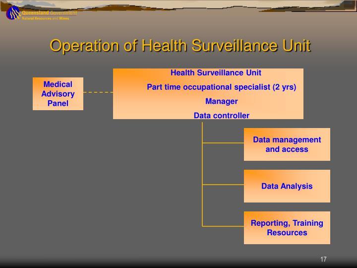 Operation of Health Surveillance Unit