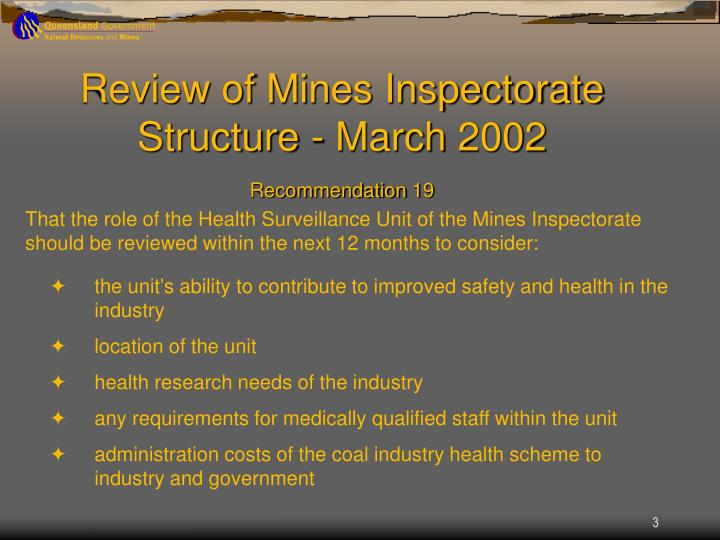 Review of Mines Inspectorate Structure - March 2002