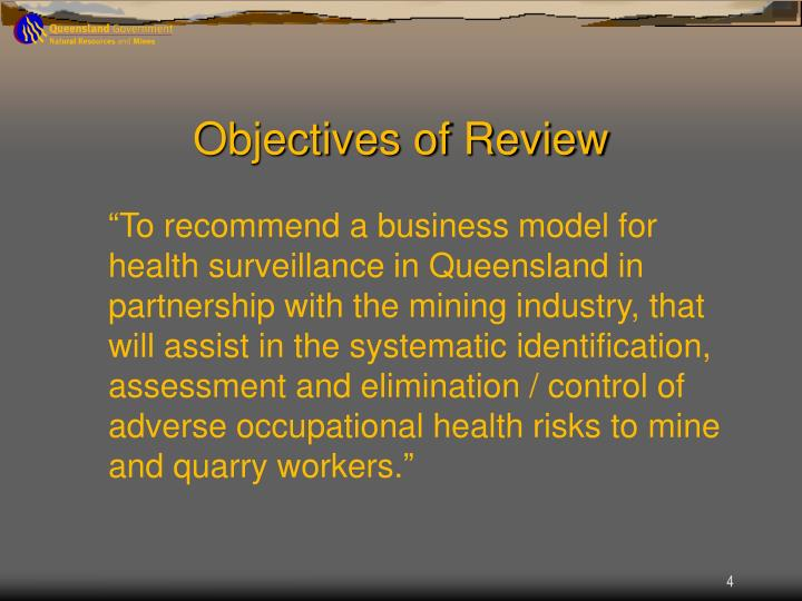 Objectives of Review