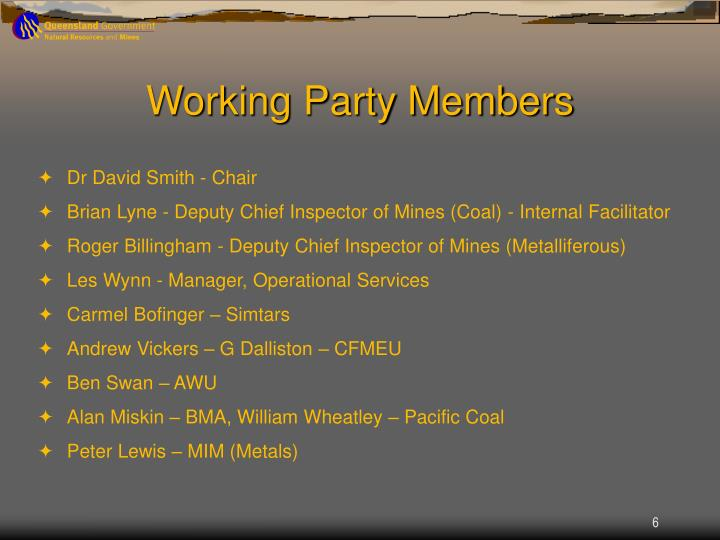 Working Party Members