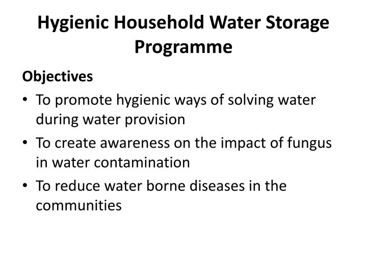 Hygienic Household Water Storage