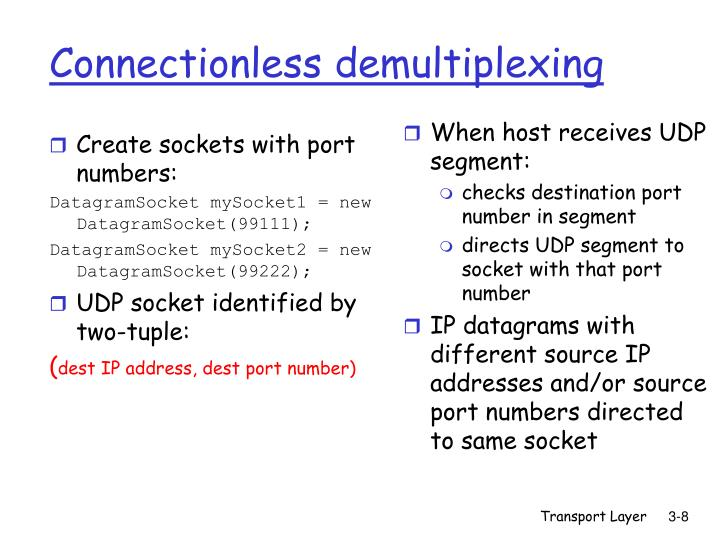 Create sockets with port numbers: