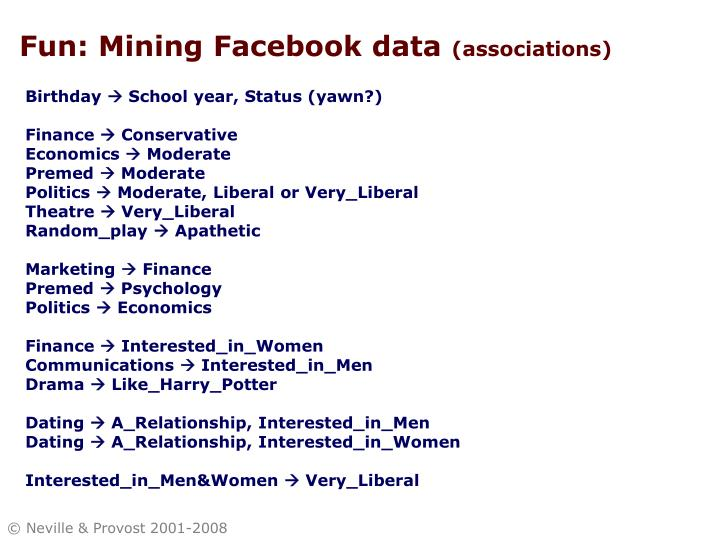 Fun: Mining Facebook data