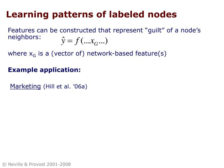 Learning patterns of labeled nodes