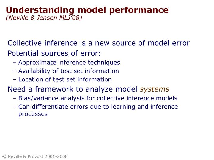 Understanding model performance