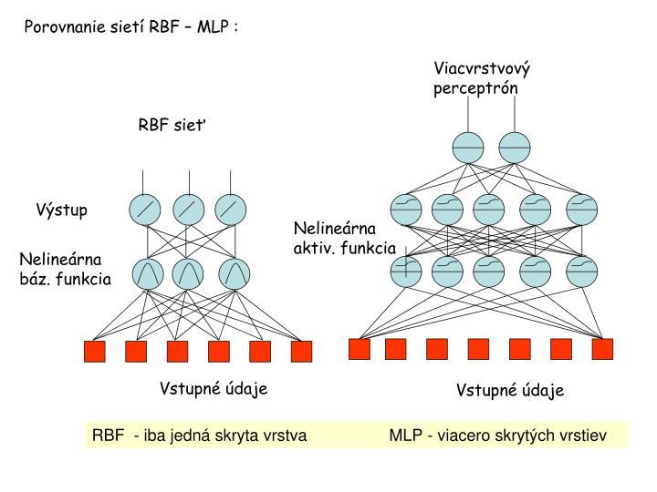 Porovnanie sietí RBF – MLP :