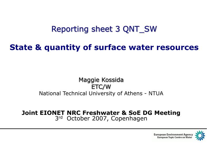 Reporting sheet 3 qnt sw state quantity of surface water resources