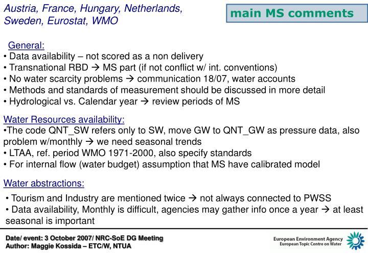 Austria, France, Hungary, Netherlands, Sweden, Eurostat, WMO