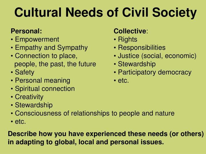 Cultural Needs of Civil Society
