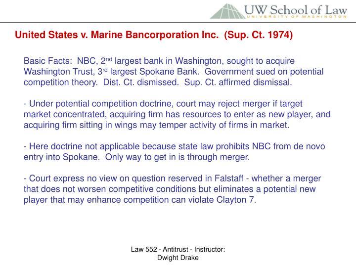 United States v. Marine Bancorporation Inc.  (Sup. Ct. 1974)