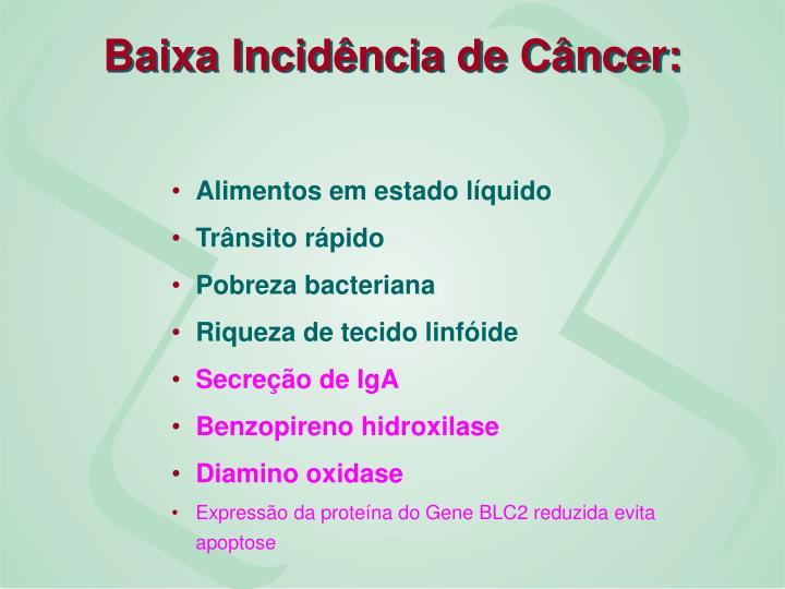 Baixa Incidência de Câncer: