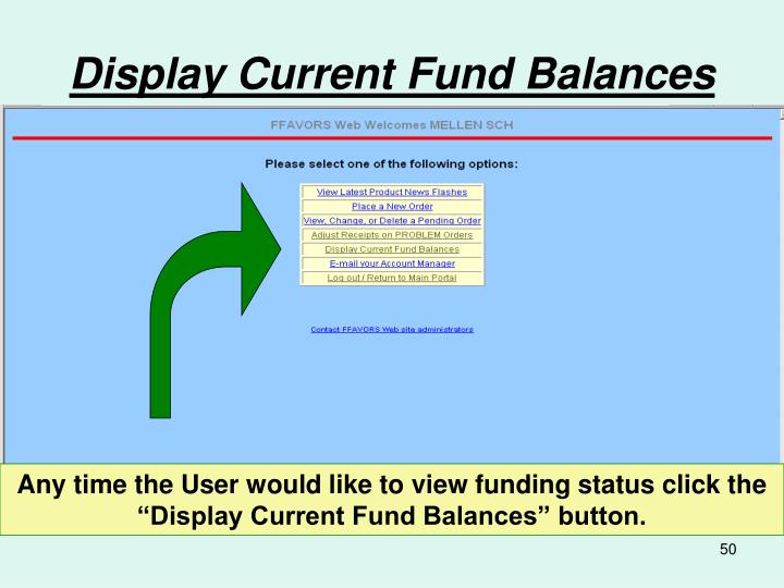 Display Current Fund Balances