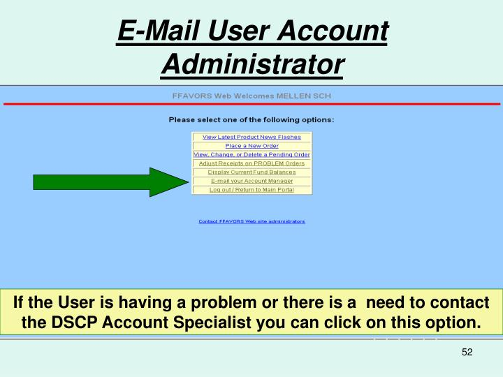 E-Mail User Account  Administrator
